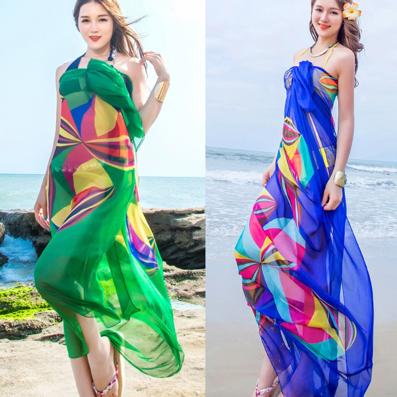 e3e1562c5c351 New 140 x 190cm Pareo Scarf Women Beach Sarongs Beach Cover Up Summer  Chiffon Scarves Geometrical