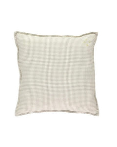 Square Cushion Check Ivory Grey