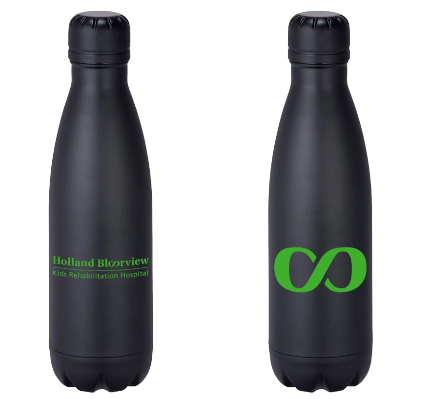 Black bottle is double wall 18/8 grade stainless steel with vacuum insulation. Inner wall is plated with copper for ultimate conductivity to keep drinks hot for 12 hours and cold for 48 hours. 17oz. Holland Bloorview logo and Infinity Symbol on opposing side imprinted in green.