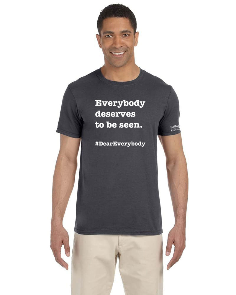 Charcoal - Adult Unisex Softstyle Gildan t-shirt - 'Everyone deserves to be seen'