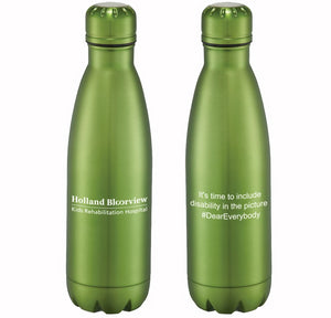 Metallic green bottle is double wall 18/8 grade stainless steel with vacuum insulation. Inner wall is plated with copper for ultimate conductivity to keep drinks hot for 12 hours and cold for 48 hours. 17oz. HollandBloorview logo and It's time to include disabilty in the picture on oppsing side imprinted in white.