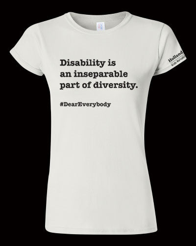 White - Women's fit Gildan t-shirt - 'Disability is an inseparable part of diversity'