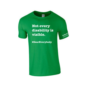 Green - Adult Unisex Softstyle Gildan t-shirt - 'Not every disability is visible'