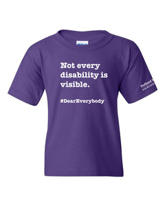 Purple - Youth Heavyweight Cotton Gildan t-shirt - 'Not every disability is visible'