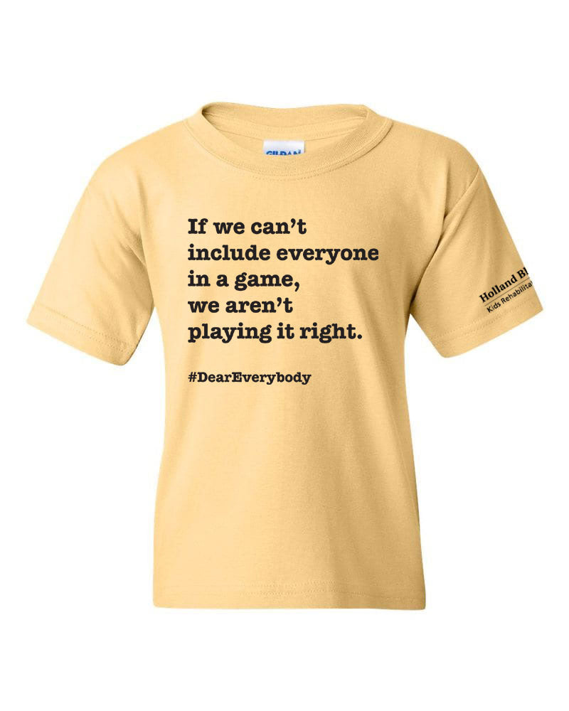 Yellow Haze - Youth heavyweight cotton t-shirt 'If we can't include everyone in a game, we aren't playing it right.'