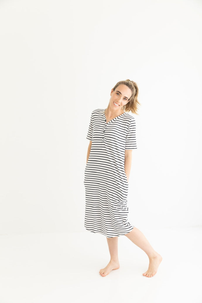döz Sleep Dress in Stripes