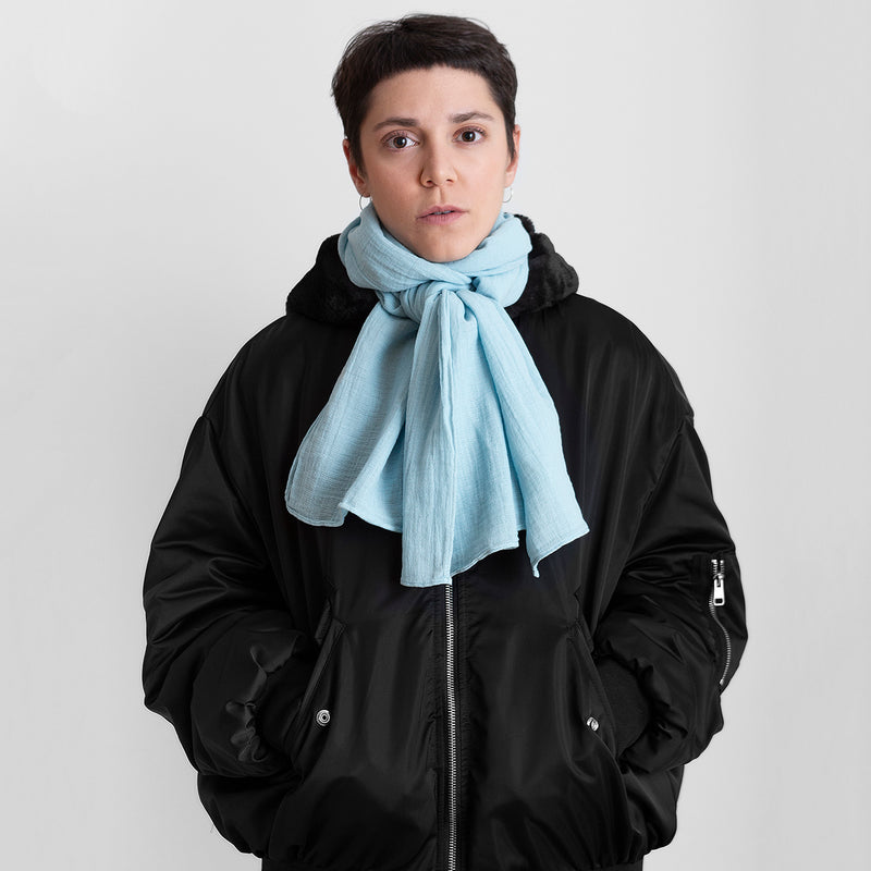 100% scarf _ light blue