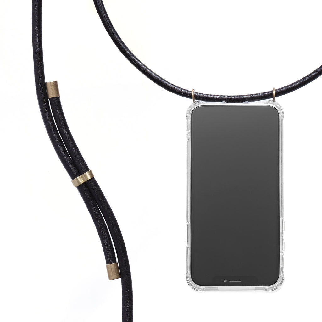 Phone Necklace - Black leather - KNOK Berlin