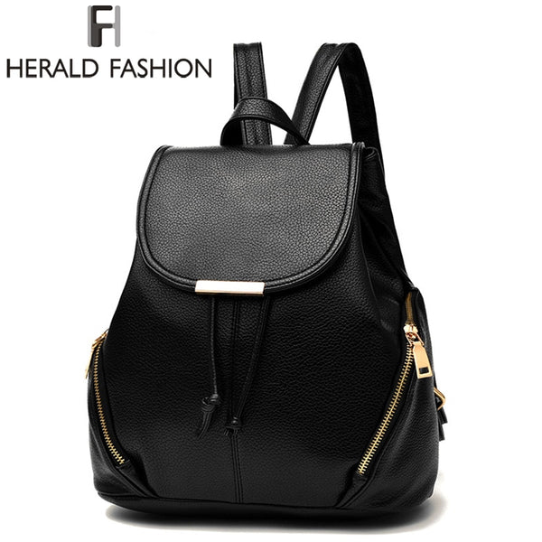 eec1afbd75f1 Herald Fashion Women Backpack High Quality PU Leather School Bags For Teenagers  Girls Solid Top-