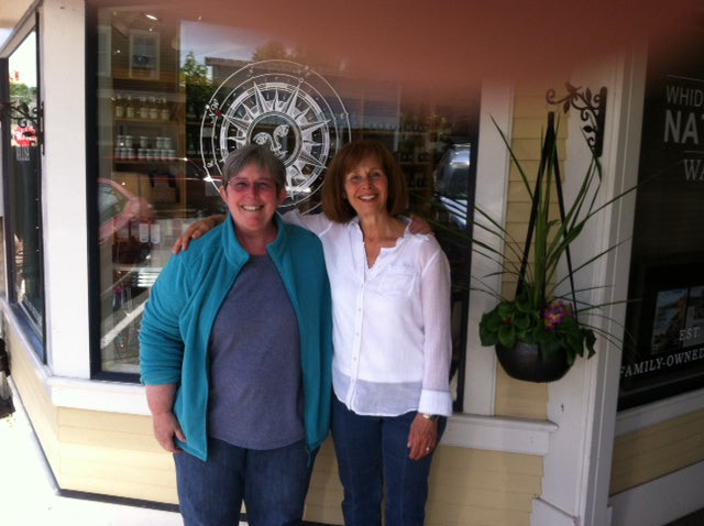Kim and Sue in front of Whidbey Island Natural Retail Shop on First Street