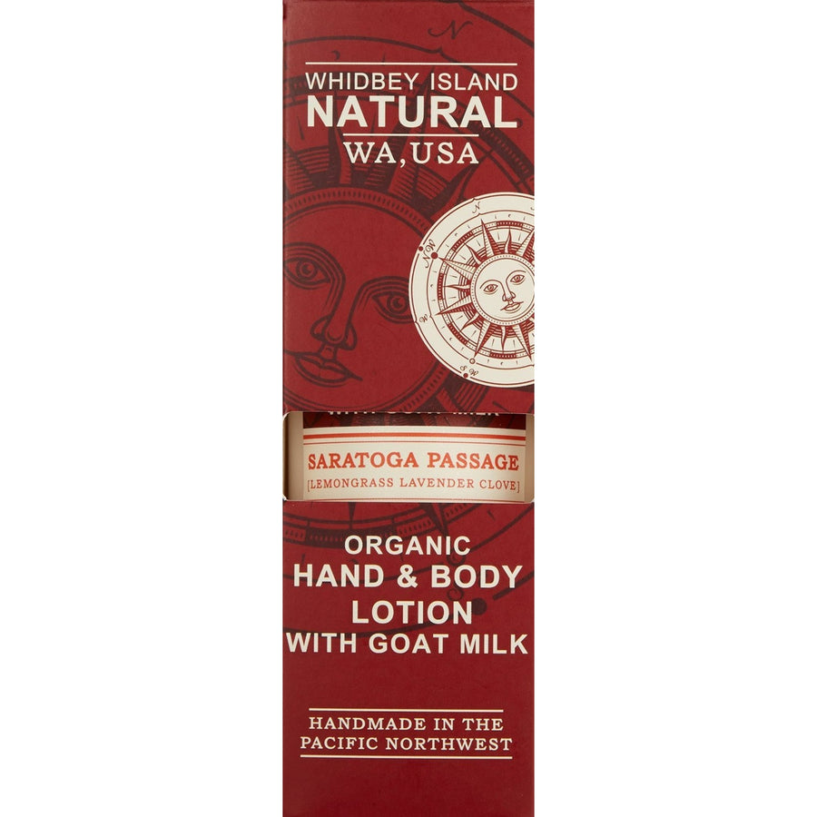 HAND & BODY LOTION WITH GOAT MILK | SARATOGA PASSAGE | LAVENDER LEMONGRASS CLOVE | BOX FRONT