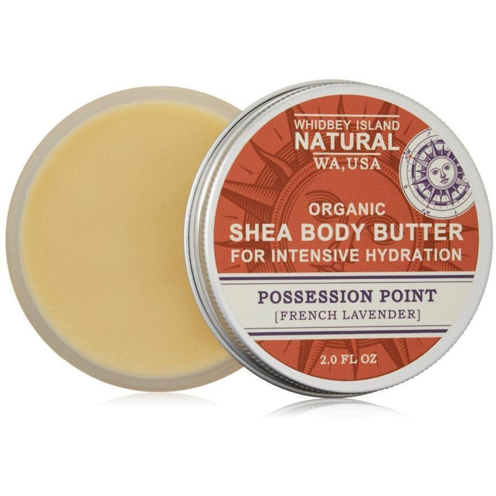 SHEA BODY BUTTER FOR INTENSIVE HYDRATION | POSSESSION POINT | FRENCH LAVENDER | OPEN JAR
