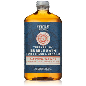 THERAPEUTIC BUBBLE BATH FOR STRESS & STRAINS | SARATOGA PASSAGE | LAVENDER LEMONGRASS CLOVE | FRONT