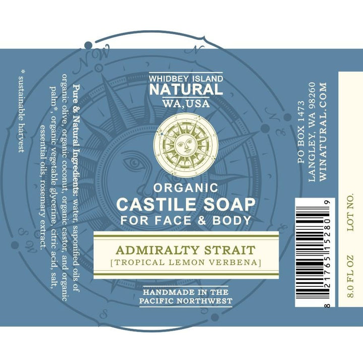Castile Liquid Soap For Face and Body - Admiralty Strait (Tropical Lemon Verbena) 8 FL OZ