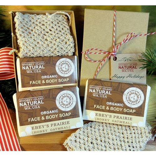 GIFT SET - TWO HONEY OATMEAL SOAP BARS | ONE AGAVE SOAP BAG | GIFT BOX