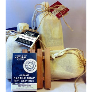 GIFT SET - SOAP BAR | CEDAR SOAP DISH | MUSLIN GIFT BAG