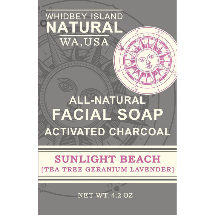 ACTIVATED CHARCOAL FACIAL SOAP | SUNLIGHT BEACH | TEA TREE GERANIUM LAVENDER