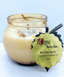 Wooden Wicks Healing Candle ~  Patchouli Essential Oils
