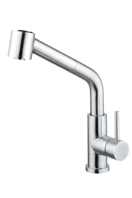Kitchen Faucet With ABS Pull-Out Handset, Stainless Steel