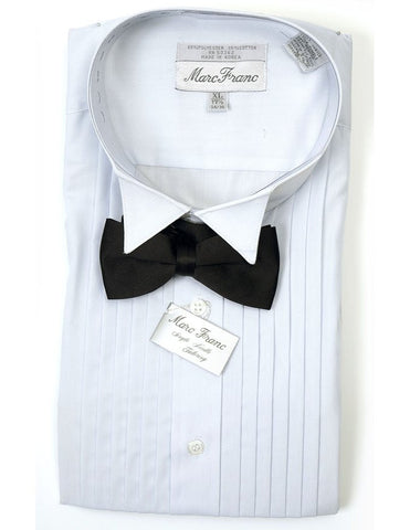 Men's White Tuxedo Shirt with Black Bow Tie and Cummerbund