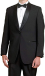 Men's Black Tuxedo Jacket with Satin Shawl Lapel by Broadway Tuxmakers