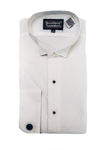 3 Men's Irregular White Wing Tip Tuxedo Shirt with French Cuffs by Broadway Tuxmakers