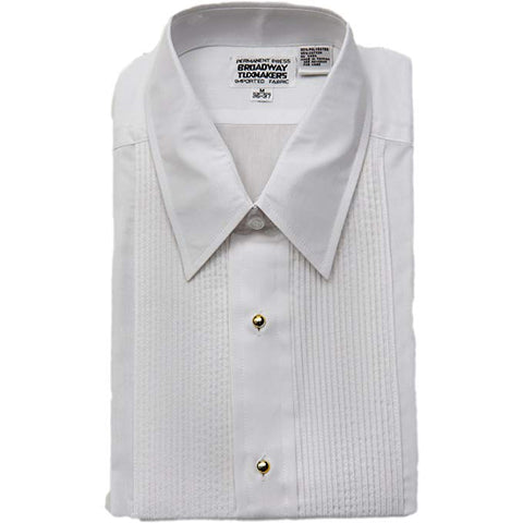 Men's White Laydown Collar Tuxedo Shirt