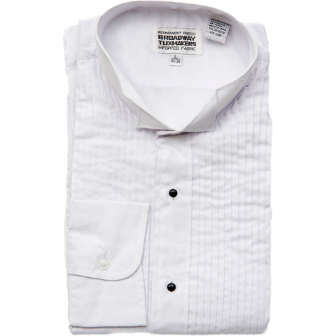 "Boy's White Wing Tip Tuxedo Shirt with 1/4"" Pleats"