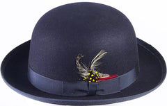 Men's 100% Wool Navy Blue Derby Bowler Hat