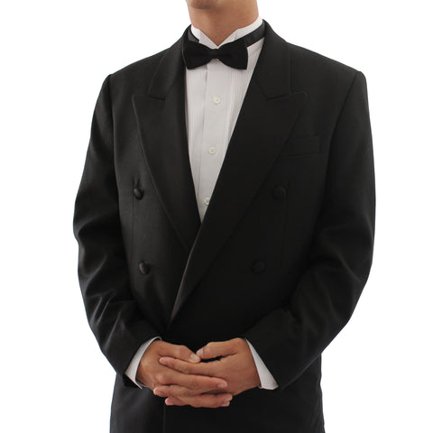 Men's New Vintage 2 Piece Double Breasted Peak Lapel Black Tuxedo