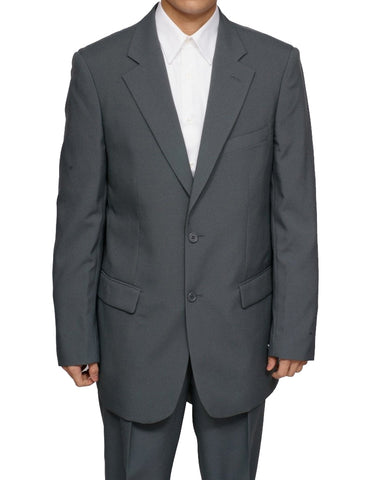 Men's Single Breasted 100% Wool Gray (Grey) Dress Suit