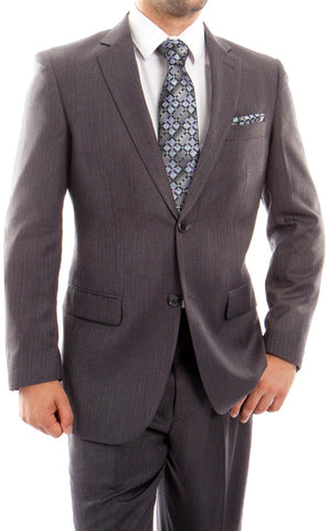 Men's 2 Button Gray Wool Dress Suit