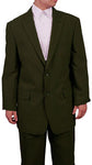 Men's 2 Button Olive Green Dress Suit