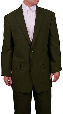 Men's 2 Button Olive Green Dress Suit New