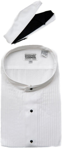 Men's Banded White Mandarin Collar Tuxedo Shirt