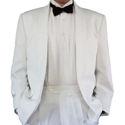 Men's One Button White Tuxedo Dinner Jacket with Shawl Collar
