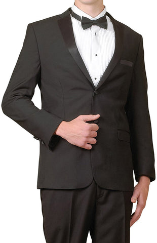 New Men's Five Piece Super 140s Two Button Slim Fit Tuxedo Suit - Including Jacket, Pants, Shirt, Bowtie & Cummerbund