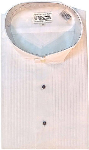 "Men's White Wingtip Tuxedo Shirt with 1/4"" Pleats"