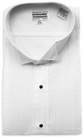"Boy's White Wing tip Tuxedo Shirt with 1/8"" Pleats"