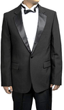 Men's 100% Wool 1 Button Notch Collar Black Tuxedo Jacket