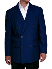 Men's Six Button Double Breasted Dinner Blazer Navy Blue Suit Jacket