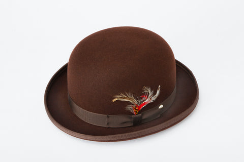 Men's 100% Wool Brown Derby Bowler Hat