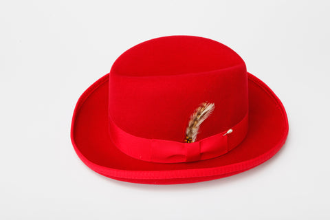 Men's 100% Wool Red Godfather Fedora Style Hat