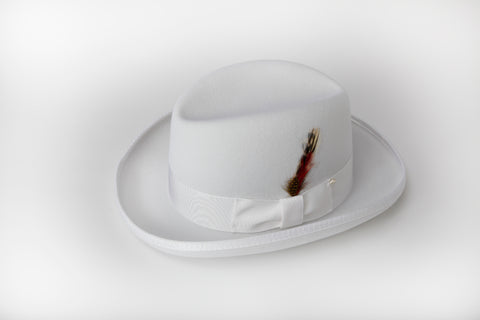 Men's 100% Wool White Godfather Fedora Style Hat