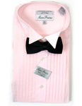 Men's Pink Tuxedo Shirt With Black Satin Bowtie