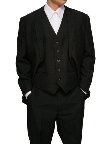 New Men's 3 Piece Slim Fit Black Dress Suit with Jacket, Pants & Vest