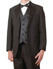 Men's Complete Six Piece Black Tuxedo Suit with Single Breasted Vest