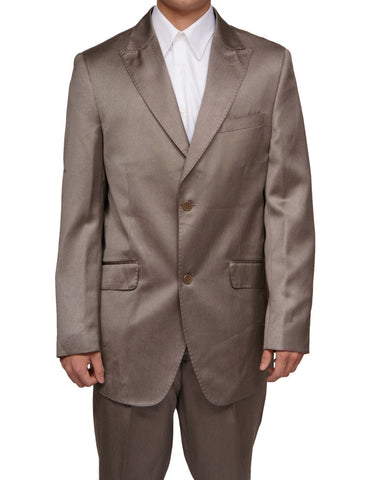 Men's Shiny Beige / Tan Slim Fit Sharkskin Two Button Dress Suit