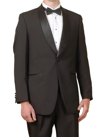New Men's One Button Black Shawl Collar Tuxedo Suit