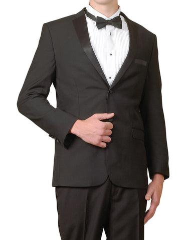 New Men's Slim Fit Super 140's Black Tuxedo Suit